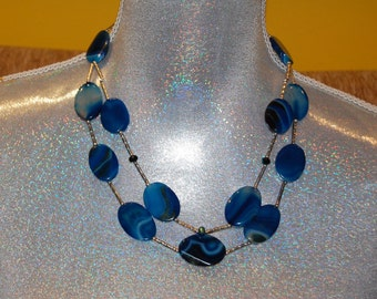 Artisan holistic double stranded Blue Agate necklace