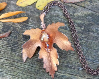 Maple Leaf Necklace Vintage Copper Nature Gift Recycle Upcycle Forest Tree For Daughter Mom Grandmother Sister Cosplay Fairy Druid Woods Elf