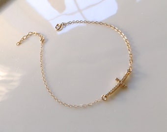 Small Gold Cross Bracelet, Everyday Jewelry
