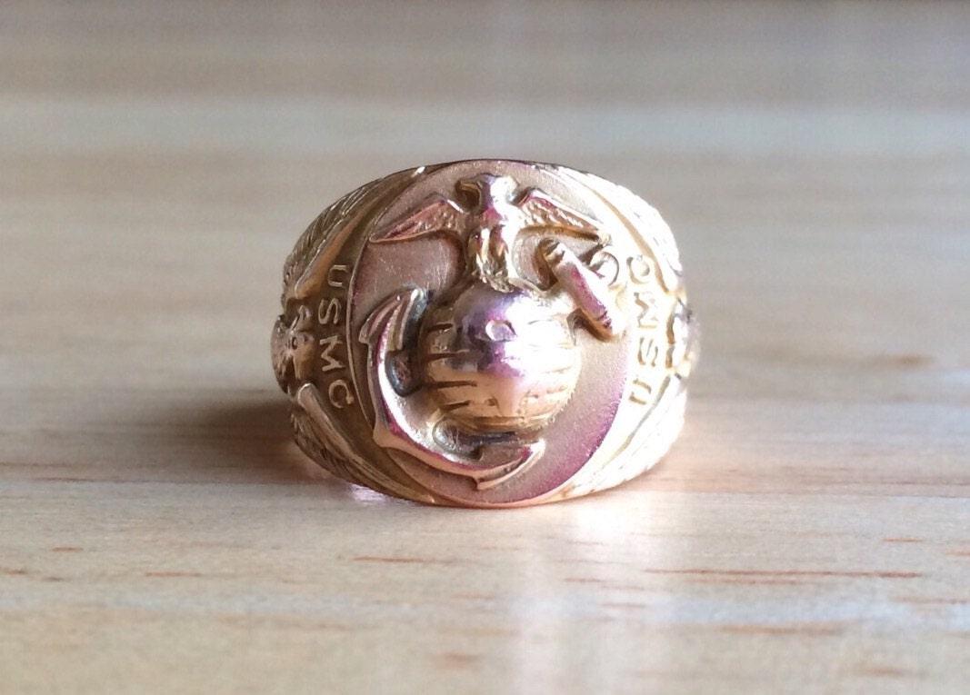 usmc ring usmc wedding band Art Deco Ring Vintage 10kt Gold United States Marine Corps Signet Size 5 1 4 Sizeable Eagle Globe Anchor Antique Fine Statement Jewelry
