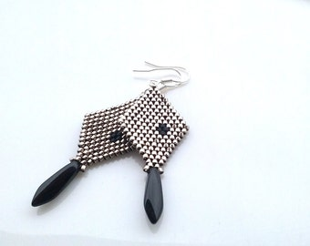 Black Silver Beaded Earrings - Dangle Earrings - Beadwork - Gift for her