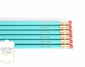Pencil Gift Set | Be Kind pencils | Quote Pencils | Turquoise Imprinted Pencils | Engraved Pencils | Gift Under 10 | Paper Berry Press