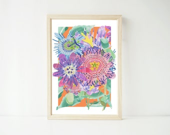 Passion Flower A4 Print, Floral Wall Art, Wall Decor, Nature Print, Herbal Remedies