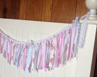 Handmade Garland Swag Bunting Lace Rag Strip Shabby Chic  Roses Birthday Garden Tea Party Shower Baby Wedding  Ready to ship