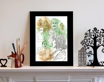 Poirot inspired Illustration Print, Hercule Poirot Art, Art Print, Celebrity Art, London Art, London Illustration, Portrait, Vintage Art