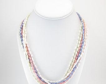 Vintage Glass Pearl Necklace, Pastel Blue Pink, White, Cream, Torsade