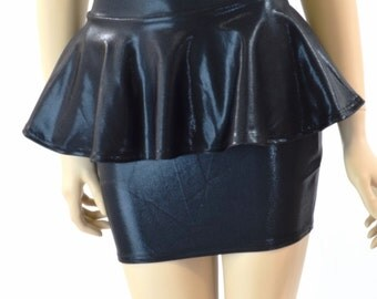 Black Mystique Metallic Bodycon Peplum Mini Skirt  -151734