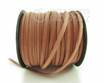 3mm Tan Flat Leather Strip Genuine Leather Strap 1 meter-3,28 foot Leather Cord, Wide Strap Lace Flat Leather Strapping, Leather Bracelet