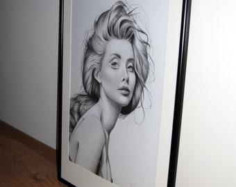 "Large Original Pencil Drawing ""Fashion Icon"" Fineart"