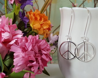 Peace Sign Earrings, Long Earrings, Hippie Earrings, Peace Sign Charms, Boho, 70's Jewelry, Mod Earrings, Peace Earrings, Zen Jewelry, E5312