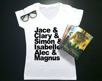 Mortal Instruments Women's Graphic Tee | V-Neck Tee | Jace & Clary | Shadowhunters | Gift | City of Bones | Nerd | TV | Movie