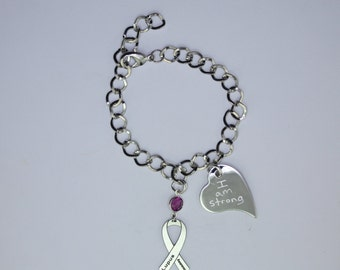 Personalized Lupus Awareness Ribbon Bracelet - Support, Fighter Jewelry - Heart Charm with Your Personalized Message