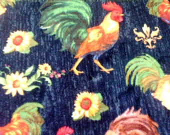 Rooster Chicken Sunflower Fleece Throw