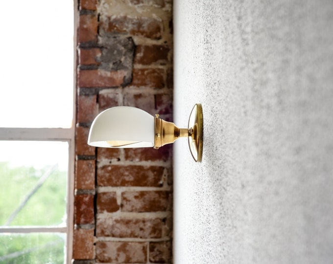 Free Shipping! Gold Brass Wall Sconce White Opal Shade Bathroom Vanity Century Industrial Modern Light UL Listed