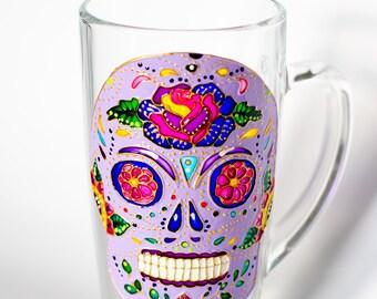 Day of the Dead Skull Mug, Dia de los Metros, Large Skull Mug, Latte Mug