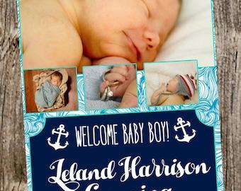 Baby announcement- Nautical teal 4 photos