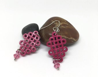 Paper Jewelry - Paper Quilling Earrings - Paper Beaded Earrings - Handmade gift - 1st Anniversary