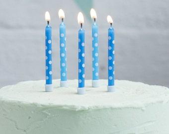 Blue Polka Dot Candles I 24 Pack I Blue Birthday Candles I Blue Candles I Spotty Candles