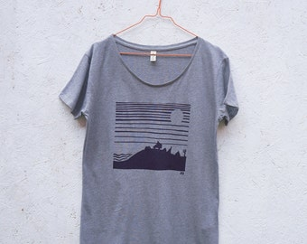 CAMPING organic t-shirt for women in grey melange - gift for campervan + camping lovers