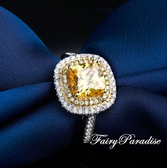 2 CT Yellow Cushion Cut Two Tone Double Halo Engagement Rings