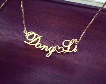 Cursive Name Necklace,Gold Name Necklace,Custom Rose Gold Plated Sterling Silver Necklace,Name Jewelry,Baby Girl Name Necklace Silver 925