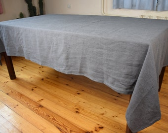Tablecloth. Heavy weight, stone washed pure 100% linen. Gray color. Any rectangular dimensions. Made to order.