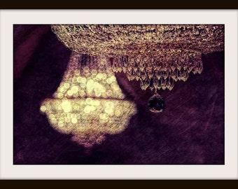 Chandelier Wall Art, Bedroom Wall Art, Chandelier Print, Purple, Gold, Wall Art, Dreamy Photo, Warm Colors