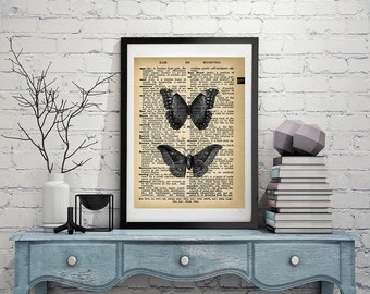 Butterfly and Moth - Vintage Dictionary Page Art Print