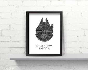 Far Sky Millennium Falcon Typographic Schematic