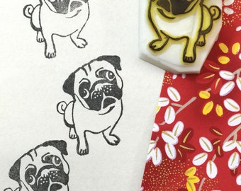 PUG DOG - Hand Carved Rubber Stamps/Doggie/Puppy/Pets/Puglife