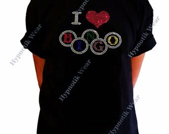 "Girls Rhinestone T-Shirt "" I Love Bingo "" Kids Size 3 to 14 Available"