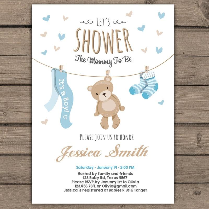 teddy bear baby shower invitation baby shower invitation baby