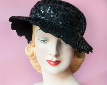 Mid-Century Glenover Henry Pollock Sequin Scalloped Wool Hat