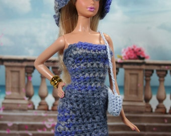 Crocheted Blue and Gray Fitted Dress, Hat and Purse for Model Muse Barbie Doll