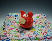 Pottery Piggy Bank | Baby Gift Set | Receiving Blanket | Baby Shower Gift | Unique baby gift | Red piggy bank | Pottered and Pieced