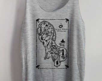 Funny I con Lod Midle World Map Shirts Tank top Pop Punk Rock Tank Top Vest Women T shirt lady T-Shirt Size S,M,L