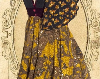 "Mustard yellow paisley boho mini dress ""mellow yellow""collection"