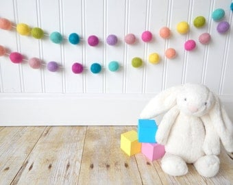 Girl Nursery Decor, Pastel Garland, Girl Room, Felt Ball Garland, Girl Bunting, Baby Shower Decor Baby Garland, Birthday Garland, Photo Prop