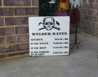 """Welder Rules- Hand Painted Wooden sign 14""""x14"""""""