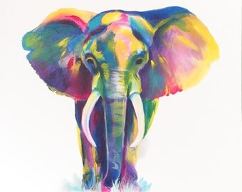 Colorful Elephant Modern Acrylic Painting on Canvas