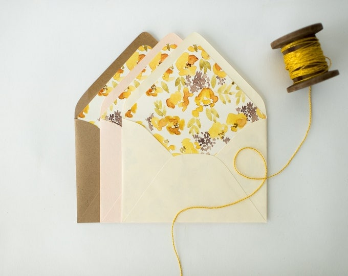 chloe yellow floral lined envelopes (sets of 10)  // romantic watercolor yellow floral envelope liners lined envelopes