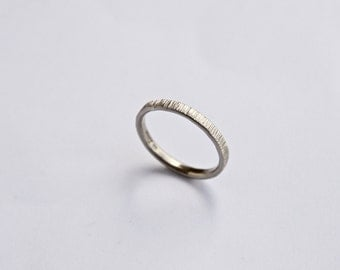 White Gold Wedding Band - Tree Bark Ring - Thin Ring - 18 Carat - Textured - Simple - Men's Women's  - His and Hers Wedding Ring
