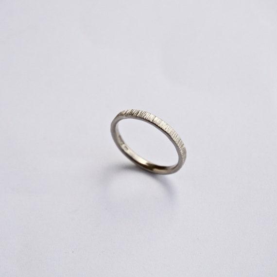 white gold wedding band tree bark ring thin ring 18