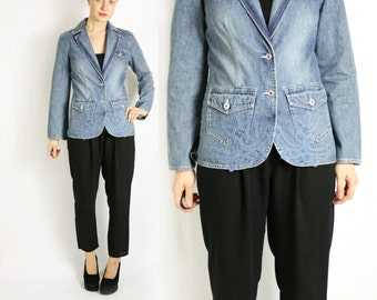 Vintage 90's Blue Denim Jean Fitted Jacket Blazer with Embroidery Applique  - Small