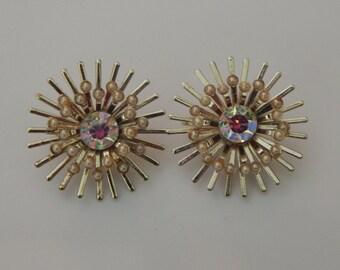 Vintage Gold AB Rhinestone Sunburst Earrings Clip On Gold Tone Rhinestone Pearl Starburst Earrings