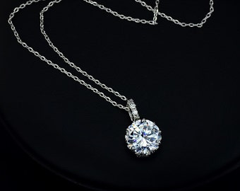 Drop Round Wedding Necklace Crystal Necklace Cubic Zirconia Necklace Bridesmaids Necklace Bridal Necklace Wedding Pendant CZ - AN0001