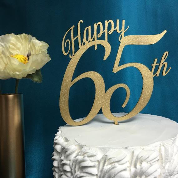 Happy 65th Cake Topper, 65th Cake Topper, Birthday Cake Topper, Glitter Cake Topper, Gold Cake Topper, Silver Cake Topper, Wooden Cake