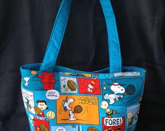 Peanuts Gang Bag, Peanuts Gang Toto Bag, Toddler Bag, Travel Bag, Overnight Bag, School bag, Handmade Bags, Sports print, Charlie brown