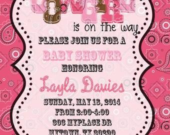 4x6 Cowgirl Shower Invitation- Baby Shower Invitation