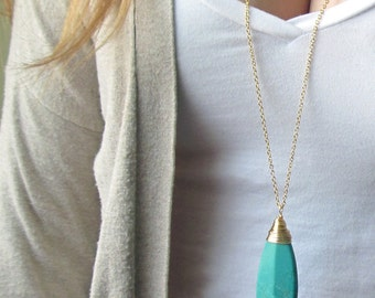 Long Turquoise Necklace - Turquoise Pendant Necklace -  Boho Necklace - Stone Necklace